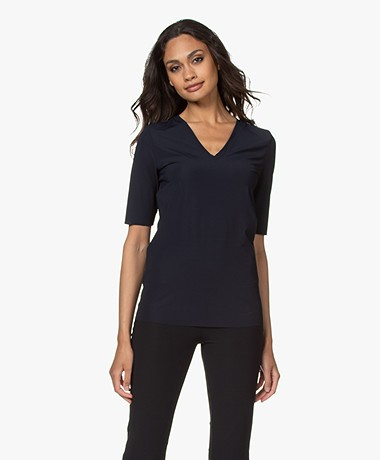 JapanTKY Lyo Travel Jersey V-hals T-shirt - Zwartblauw