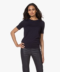 Plein Publique La Femme Pointelle Short Sleeve Pullover - Dark Blue