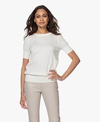 Plein Publique La Femme Pointelle Short Sleeve Pullover - Ivory