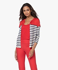 Majestic Filatures Striped Silk Cardigan - Cherry/Positano/Milk