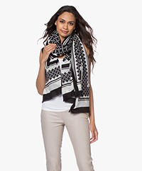 By Malene Birger Julee Printed Wool Scarf - Black
