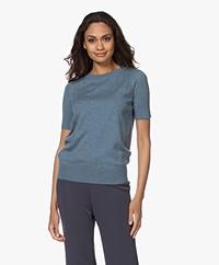 Plein Publique La Femme Pointelle Korte Mouwen Trui - Jeans Blue