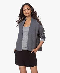 Sibin/Linnebjerg River Two-tone Short Cardigan - Dark sweat grey/Melange Grey