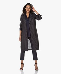 Josephine & Co Boyd Long Linen Blazer - Stripe Navy