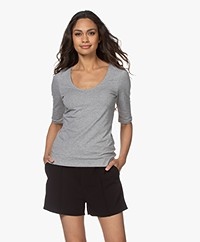 Filippa K Cotton Stretch Scoop Neck T-Shirt - Grey Melange