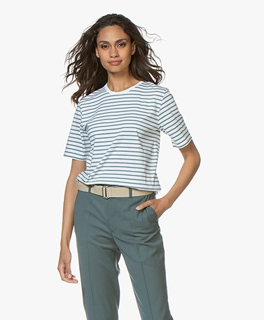Filippa K Organic Cotton Striped T-shirt - River/Wit