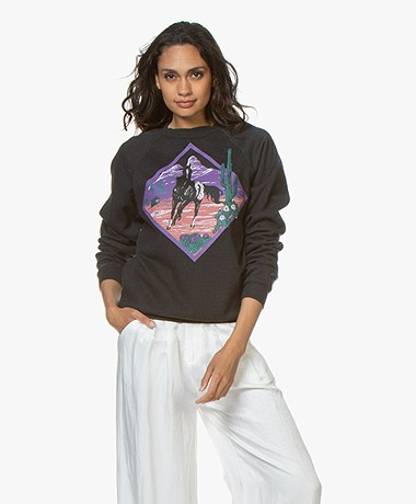 Ragdoll LA Sweatshirt met Paardenprint - Gewassen Zwart/Multicolor