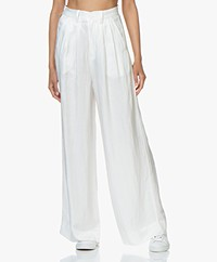 ANINE BING Carla Wide-Leg Linen Blend Pants - White