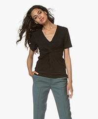 By Malene Birger Ciia Crepe T-shirt with Front Pleat - Black