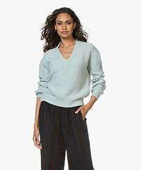 forte_forte Cashmere V-neck Rib Sweater - Rugiada