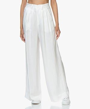 ANINE BING Carla Wide-Leg Linen Blend Pants - White