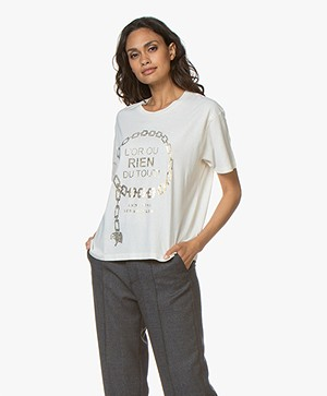 ANINE BING Ringo Cotton Print T-shirt - Cream