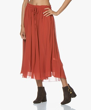 forte_forte Silk -Chiffon Midi Skirt - Mandarino