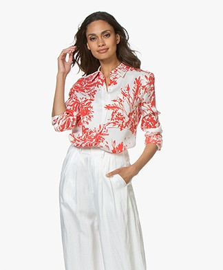 Equipment Brett Silk Blend Printed Blouse - Nature White/Blood Moon