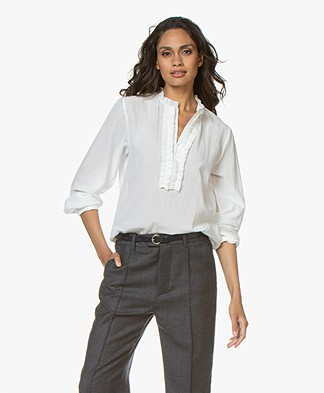 Vanessa Bruno Messaline Cotton Crepe Blouse with Frills - White