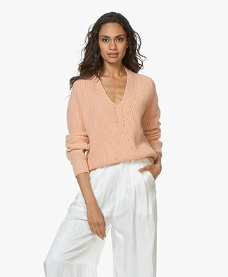 forte_forte Cashmere V-neck Rib Sweater - Phard