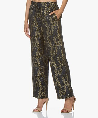 forte_forte Jacquard Pants with Lurex Dessin - Notte