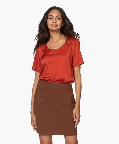 Repeat Silk Short Sleeve Blouse - Paprika
