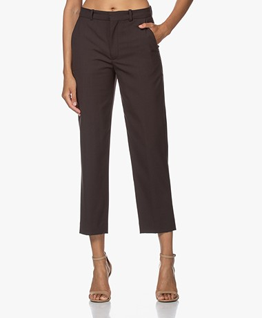 Drykorn Study Wool Blend Cropped Pants - Espresso