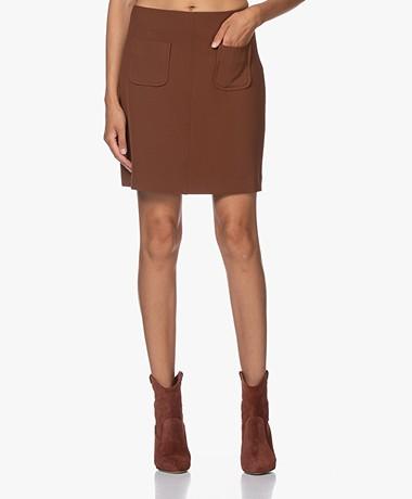 no man's land Stretch Mini Skirt - Cognac