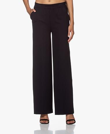 LaSalle Ponte Jersey Wide Leg Sweatpants - Night Blue