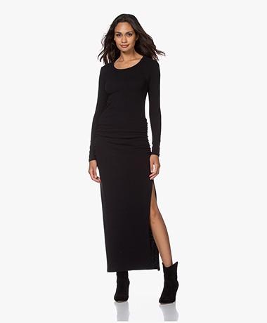 James Perse Sueded Jersey Split Dress - Black