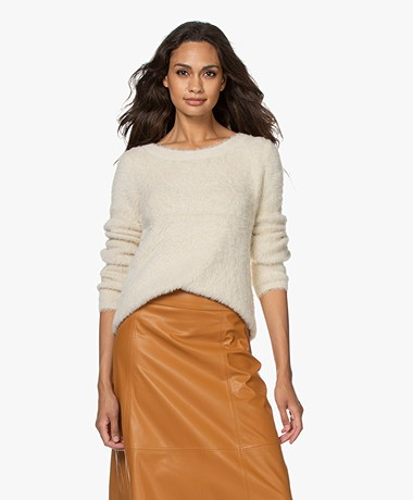 Kyra & Ko Pentas Feather Yarn Fluffy Sweater - Almond