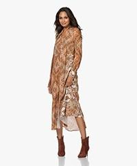 Kyra & Ko Ebba Long Crepe Dress with Paisley Print - Almond