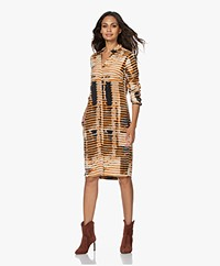 Kyra & Ko Holly Stretch Cupro Blend Print Dress - Gold Spice