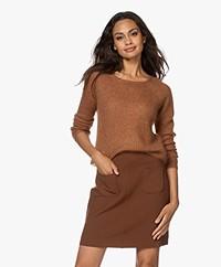 no man's land Kid Mohair Blend Lurex Sweater - Terracotta