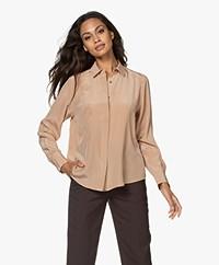 Repeat Silk Shirt Blouse - Camel