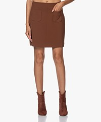no man's land Stretch Mini Skirt - Cognac