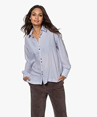 ba&sh Victoire Viscose Blend Pinstripe Shirt - Sky Blue