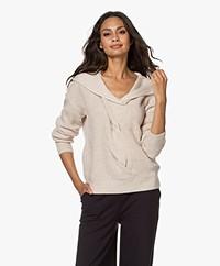 Repeat Merino Wool Hooded Sweater - Light Beige