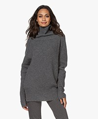 no man's land Oversized Woolen Sweater - Dark Steel