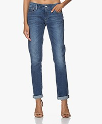 Denham Monroe Mid BCI Girlfriend Fit Jeans - Blauw
