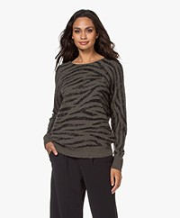 Repeat Cashmere Zebra Printed Sweater - Khaki/Black