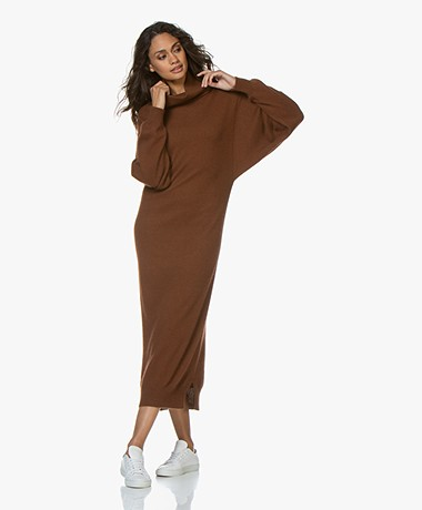 Mes Demoiselles Calabria Knitted Maxi Turtleneck Dress - Brown