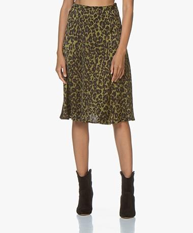 LaSalle Satin Leopard Print Skirt - Green