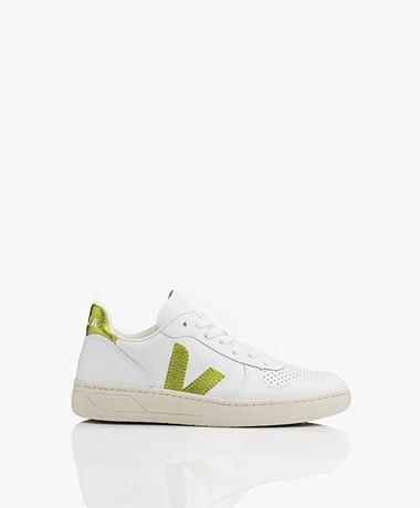 VEJA V-10 Leather Sneakers - Extra White/Pagi