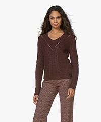 indi & cold Viscose Blend Cable Knit Sweater - Aubergine