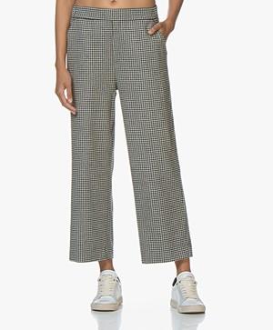 LaSalle Wool Pied de Poule Cropped Pants - Black/White