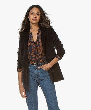 Closed Cox Fluwelen Oversized Blazer - Zwart