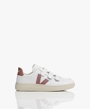 VEJA V-Lock Leren Sneakers - Extra Wit/Dried Petal