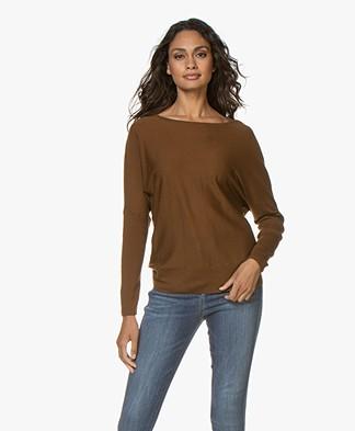 no man's land Fine Knit Wool Sweater - Copper