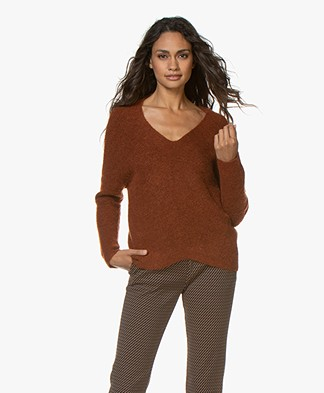 MKT Studio Konica Rib V-neck Sweater - Noisette