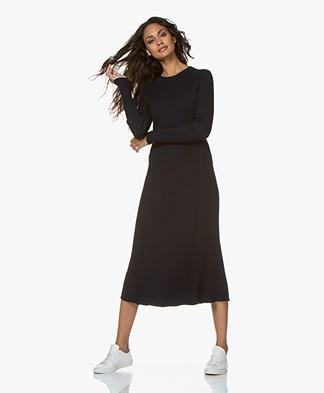 Repeat Rib Knit Midi Dress - Navy