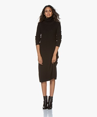 Pomandère Rib Knit Turtleneck Dress - Black