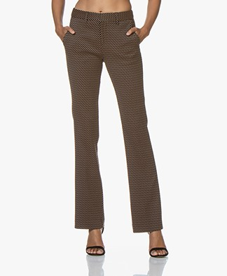 MKT Studio Pampani Flared Jacquard Pants - Black/Rust