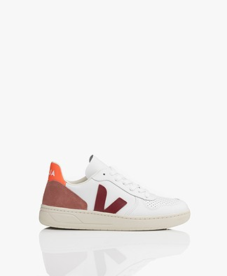 VEJA V-10 Leather Sneakers - Extra White/Marsala/Dried Petal/Orange Fluo